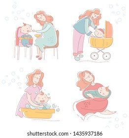 Four sketches of a loving mother and baby showing the various facets of motherhood, parenting and childcare with feeding time, walk in a pram, bathing and bedtime