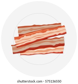 Four slices of bacon on plate illustration