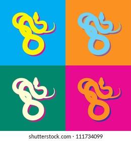 Four Snakes in pop art style. Vector illustration.