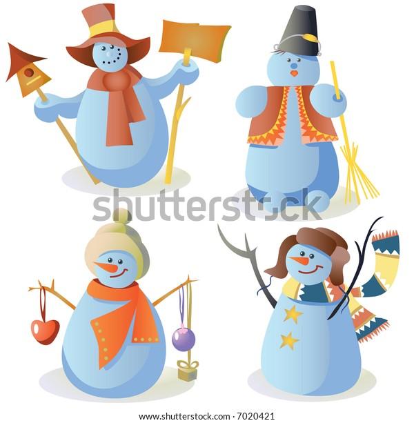 Four snowmen in children style
