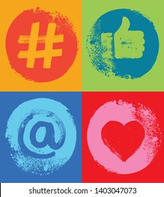 Four Social Media Symbols, Colorful,  Like Hand, Grunge Texture, Snapchat, Social Media, Color, Marketing, Influencer, Instagram Followers, Facebook likes, Digital Marketing, Internet, Concepts, Fun