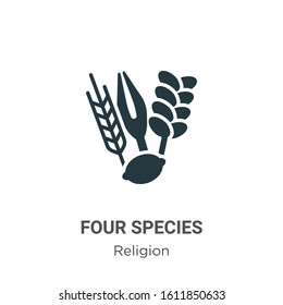 Four species glyph icon vector on white background. Flat vector four species icon symbol sign from modern religion collection for mobile concept and web apps design.