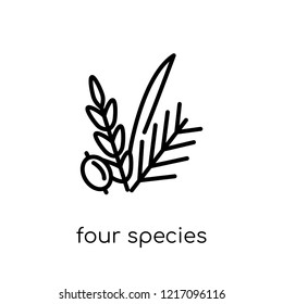 Four Species icon. Trendy modern flat linear vector Four Species icon on white background from thin line Religion collection, editable outline stroke vector illustration