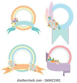 Four spring themed badges featuring ribbons and large spaces for text, as well as flowers and butterflies.