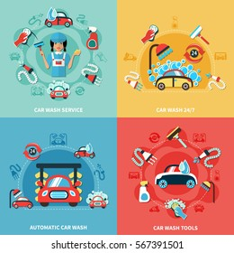 Four square car wash 24/7 colorful compositions with cartoon cars cleaning agents and tools images vector illustration