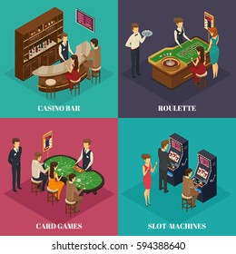 Four square casino isometric composition with casino bar roulette card games and slot machines descriptions vector illustration