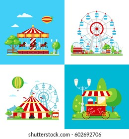 Four square colored amusement park composition with ferris wheel carousel circus and ice cream van vector illustration