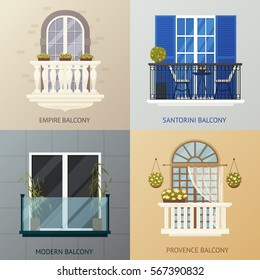 Four square compositions set with antique classic and modern balcony design concept with flat window images vector illustration