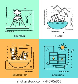 Four square disaster damage colored icon set in linear style with descriptions of eruption flood destruction and pollution vector illustration