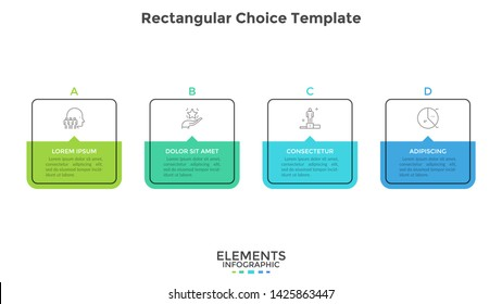 Four square elements or rectangular frames placed in horizontal row. Visualization of 4-stepped business process. Simple infographic design template. Flat vector illustration for presentation, report.