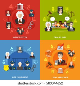 Four square flat law icon set with justice system trial by jury and others descriptions vector illustration