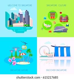 Four square flat Singapore culture icon set vector illustration