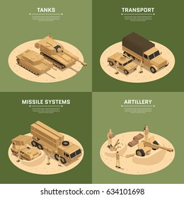 Four square military vehicles isometric icon set with tanks transport missile systems and artillery headlines vector illustration