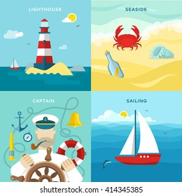 Four square nautical colored icon set with description of lighthouse seaside captain on the wheel and sailing in the ocean vector illustration