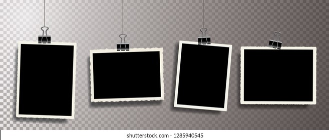 Four square vector photo frames hanging on metal clips. Vertical and horizontal template photo design