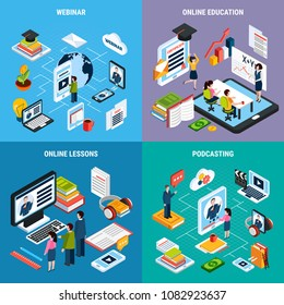 Four square webinar isometric icon set with webinar online education lessons and podcasting descriptions vector illustration