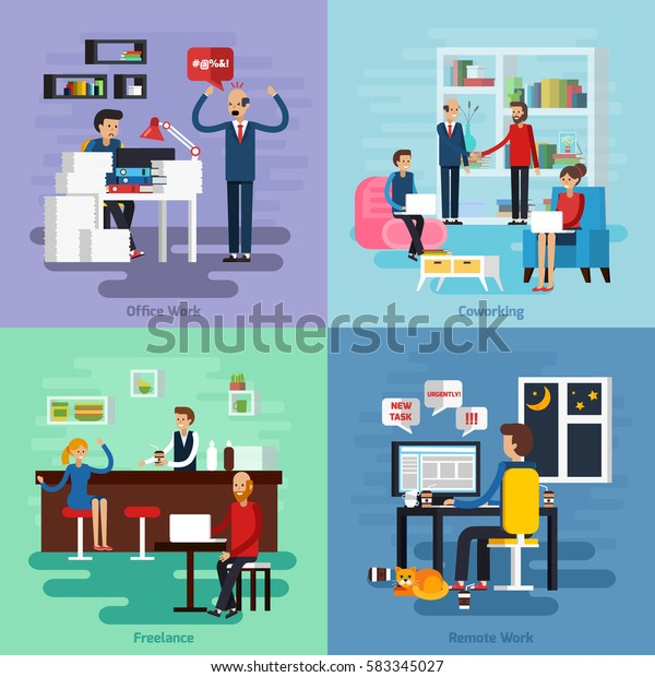Four Square Working Character Composition Set Stock Vector