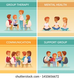 Four squares cartoon group therapy icon set with mental health communication and support group descriptions vector illustration