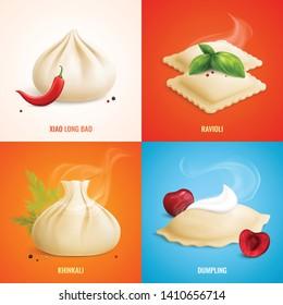 Four squares dumplings ravioli manti icon set with xiao long bao ravioli khinkali dumpling descriptions vector illustration