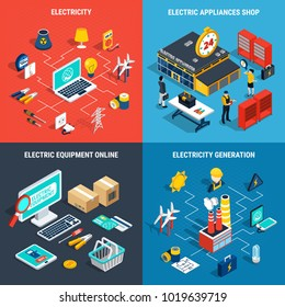 Four squares electricity isometric concept with electric appliances shop electricity generation electric development online descriptions vector illustration