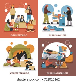 Four squares homeless people design concept set with please any help we are homeless we need your help descriptions vector illustration