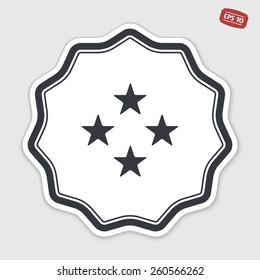 Four stars icon. Flat design style. Made vector illustration. Emblem or label with shadow.