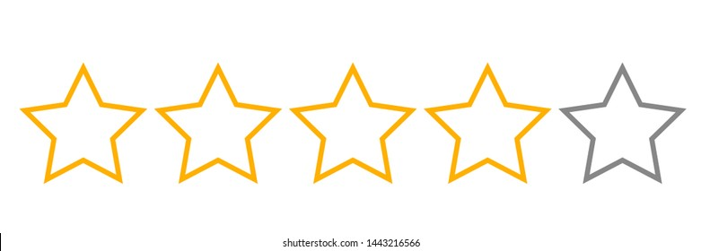 four stars rating for review, feedback product on website or application illustration vector