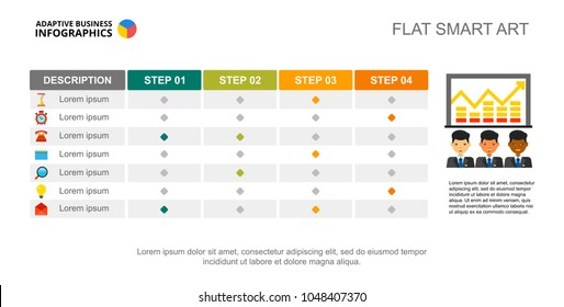 Four step creative chart. Table, process graph, slide template. Creative concept for infographics, project, report. Can be used for topics like business, marketing, analysis