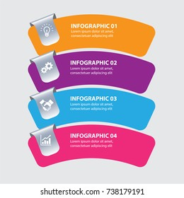 Four steps Info graphics - can illustrate a strategy or team work.
