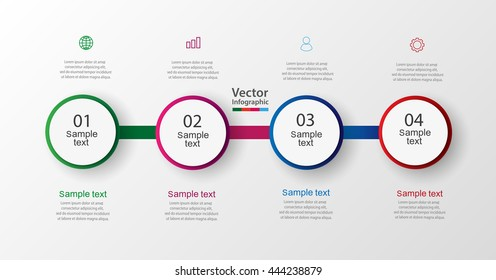 Four steps infographics with colorful circles. Vector chart, diagram, graph with steps, options, parts, processes with square elements. Vector business. Eps 10