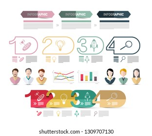 Four Steps Modern Web Presentation with people Avatars Icons and Sample Texts. Vector Infographics Design. Business Data Flow Chart Infographic Concept.