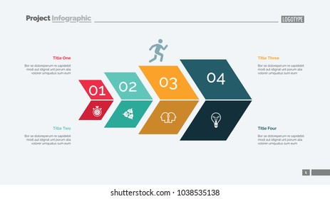 Four steps process chart slide template. Business data. Option, diagram, design. Creative concept for infographic, presentation. Can be used for topics like marketing, strategy, economics.