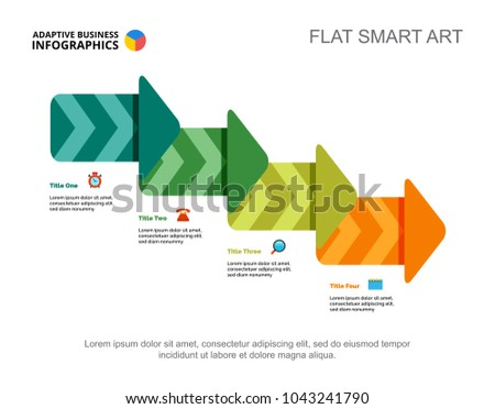 Four Steps Process Chart Slide Template Stock Vector Royalty Free