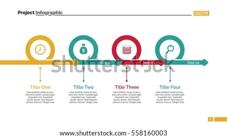 four steps timeline slide template stock vector royalty free