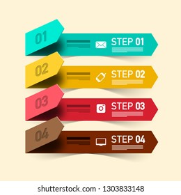 Four Steps Vector Infographic Design. Infographic Layout with Colorful Papers and Technology Icons.
