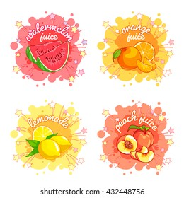 Four stickers with different fruit juices. Watermelon, orange, lemon and peach. Vector cartoon illustration isolated on a white background.