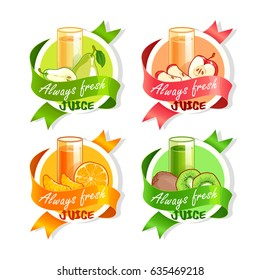 Four stickers with ribbon and different fruits juices. Pear, apple, orange and kiwi fresh drinks. Vector illustration isolated on a white background.