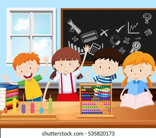 Four students in classroom illustration