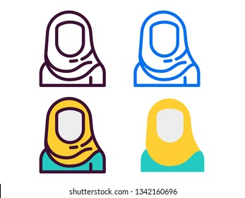 four style icon hijab. outline, pictogram,color,filled line
