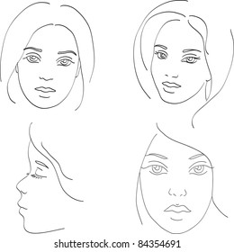 four stylized vector young women faces