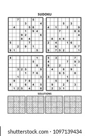 Four sudoku puzzles of comfortable (easy, yet not very easy) level, on A4 or Letter sized page with margins, suitable for large print books, answers included. Set 11.