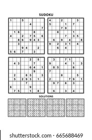 Four sudoku puzzles of comfortable (easy, yet not very easy) level, on A4 or Letter sized page with margins, suitable for large print books, answers included. Set 1.