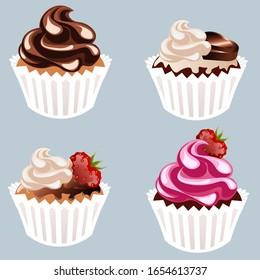 Four sweet strawberry chocolatte cupcake set