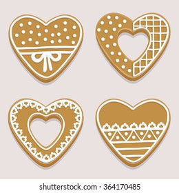 Four tasty heart-shaped gingerbreads on a table