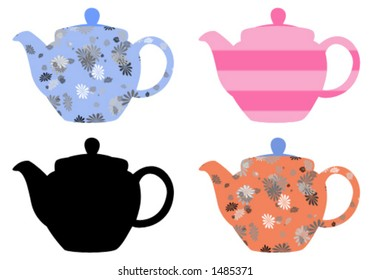 Four teapots illustration - vector drawing