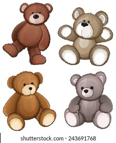 Four teddy bears on a white background