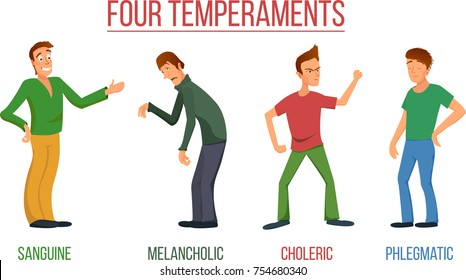 The four temperaments characters sanguine, choleric, melancholic, phlegmatic