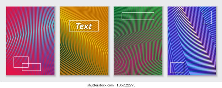 Four templates A5 size for flyer, poster, brochure design. Minimalistic graphic patterns with wavy lines. Abstract geometric bright colored backgrounds. Vector