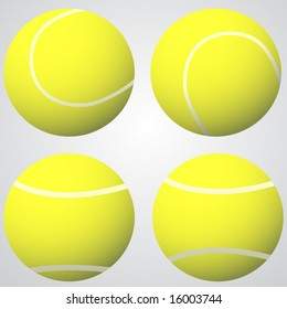 Four tennis balls vector