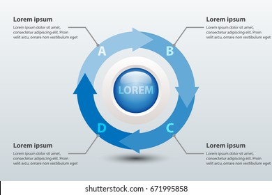 Four topics blue arrow chart 3d paper with circle in center for website presentation cover poster vector design infographic illustration concept
